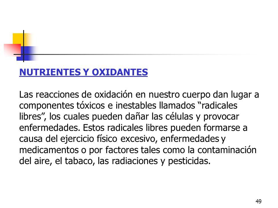 Nutrientes y Oxidantes