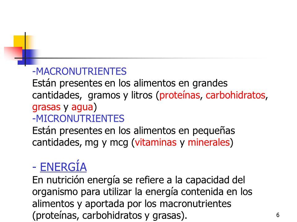 Macronutrientes y Micronutrientes. Energía