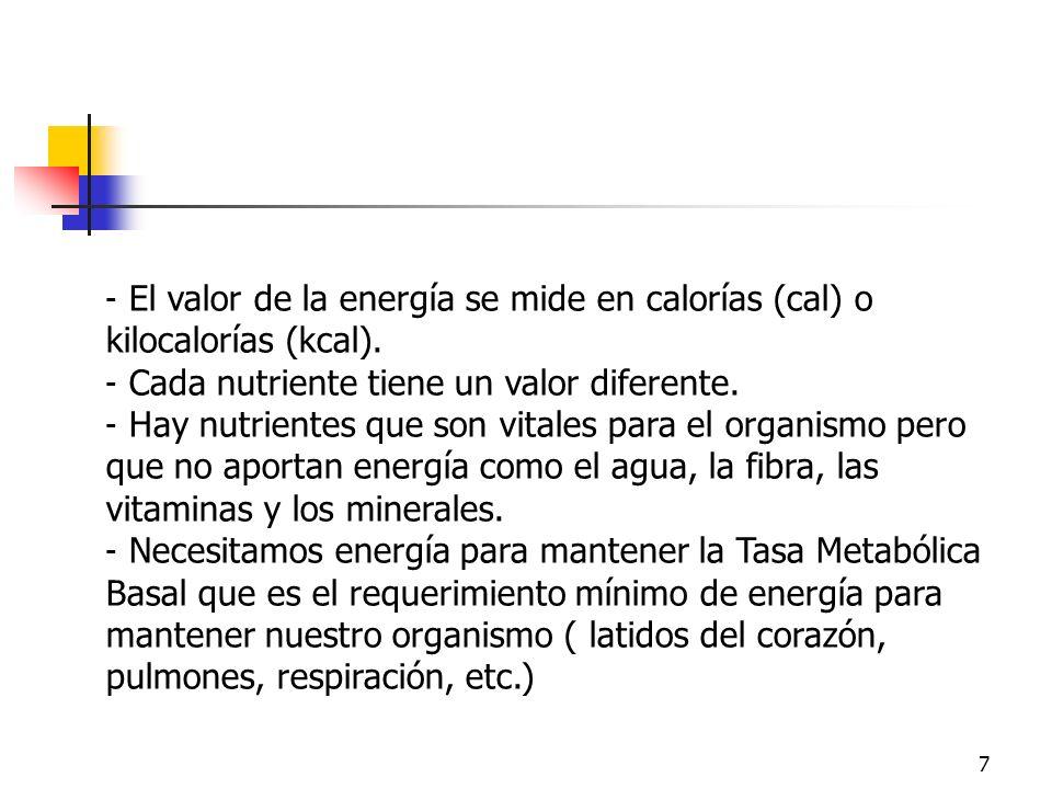 EnergíaEl valor de la energía se mide en calorías (cal) o kilocalorías (kcal). Cada nutriente tiene un valor diferente.