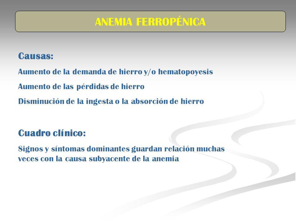 ANEMIA FERROPÉNICA Causas: Cuadro clínico: