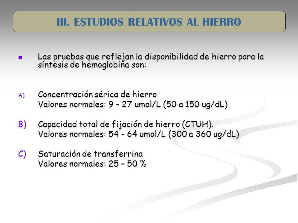 III. ESTUDIOS RELATIVOS AL HIERRO