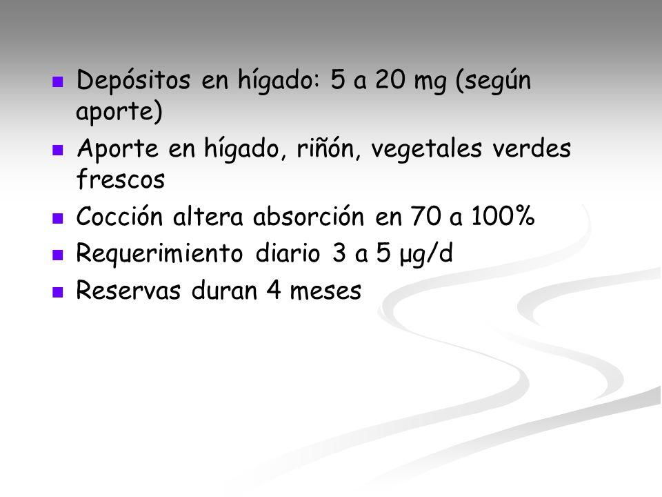 Depósitos en hígado: 5 a 20 mg (según aporte)