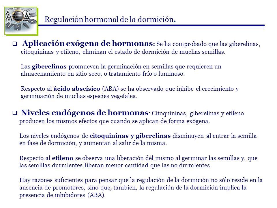 Regulación hormonal de la dormición.
