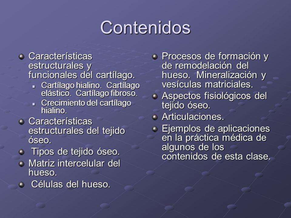 Contenidos Características estructurales y funcionales del cartílago.
