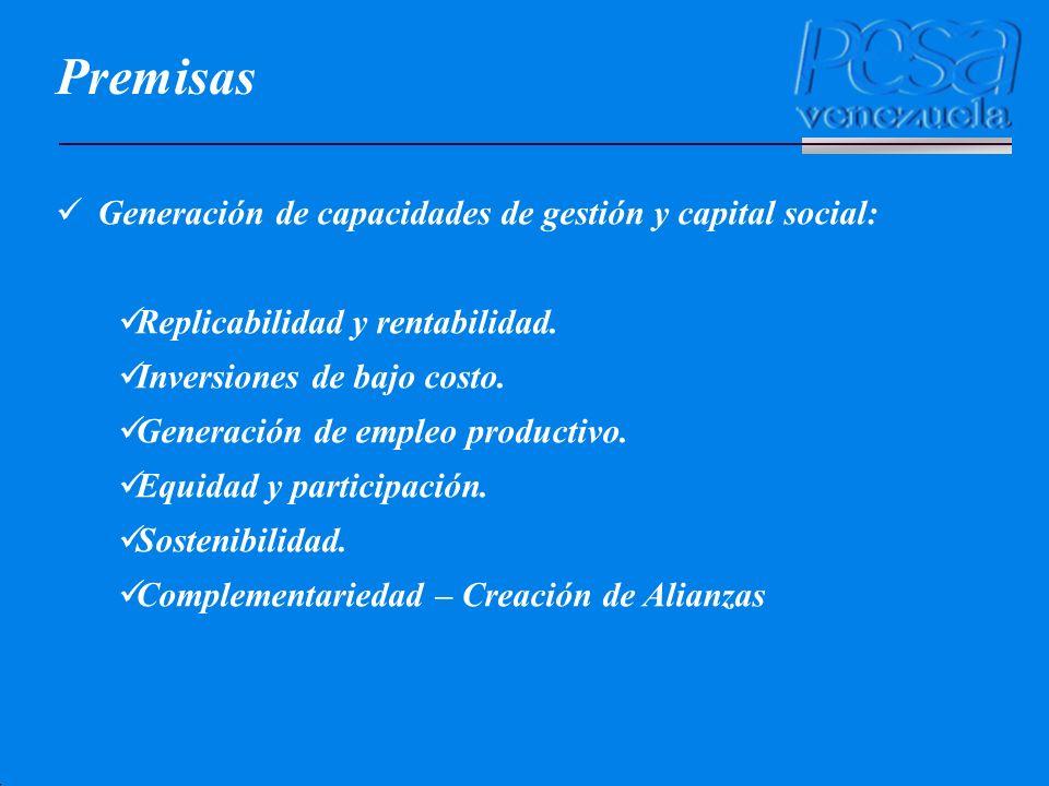 Premisas Generación de capacidades de gestión y capital social: