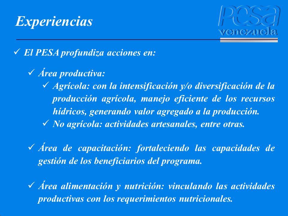 Experiencias El PESA profundiza acciones en: Área productiva: