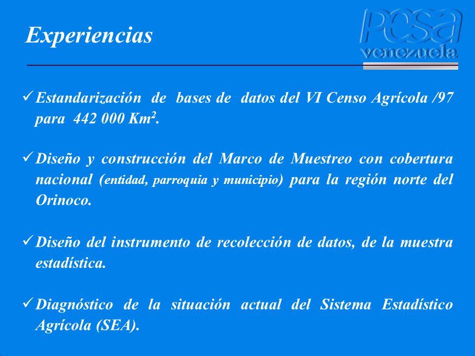Experiencias Estandarización de bases de datos del VI Censo Agrícola /97 para 442 000 Km2.