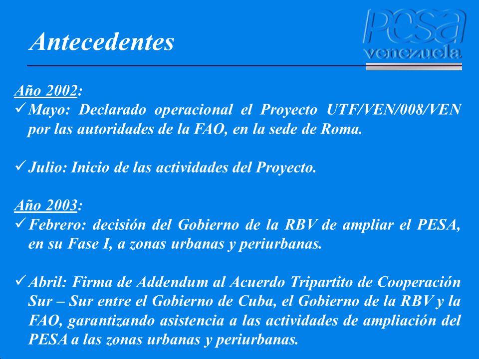 Antecedentes Año 2002: Mayo: Declarado operacional el Proyecto UTF/VEN/008/VEN por las autoridades de la FAO, en la sede de Roma.