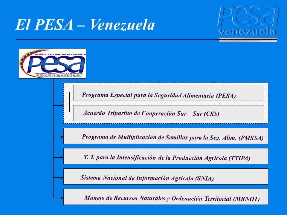 El PESA – Venezuela Programa Especial para la Seguridad Alimentaria (PESA) Acuerdo Tripartito de Cooperación Sur – Sur (CSS)