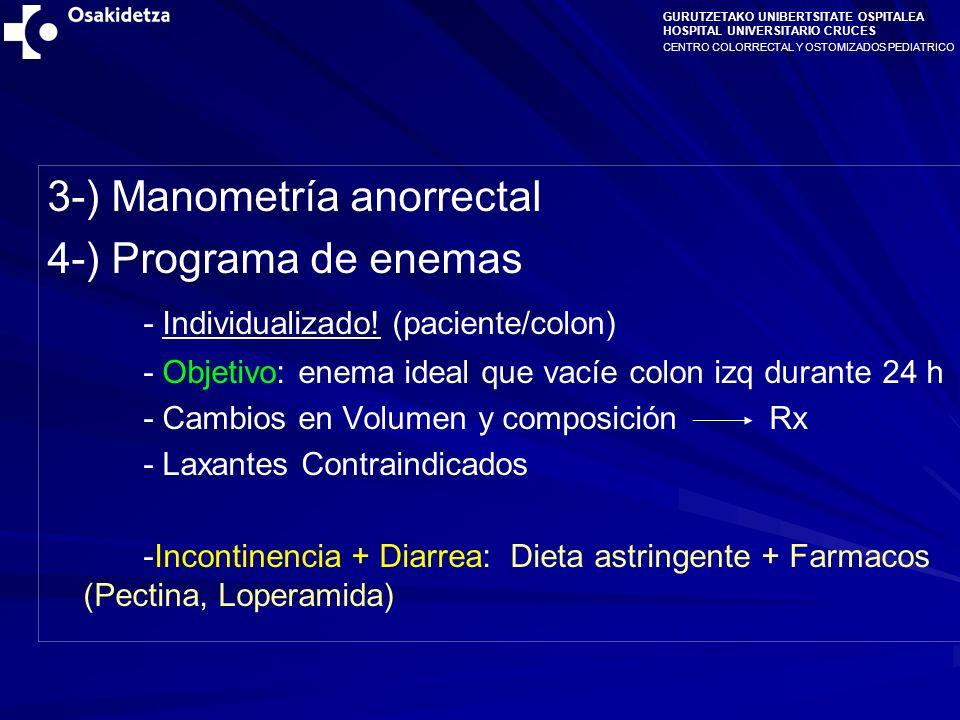 3-) Manometría anorrectal 4-) Programa de enemas