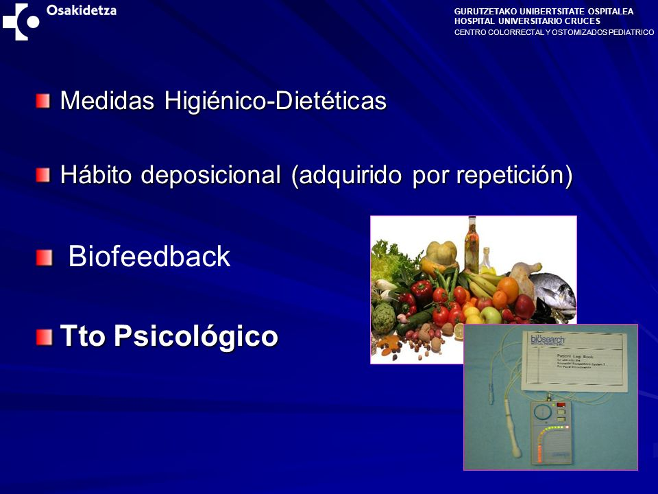 Biofeedback Tto Psicológico Medidas Higiénico-Dietéticas