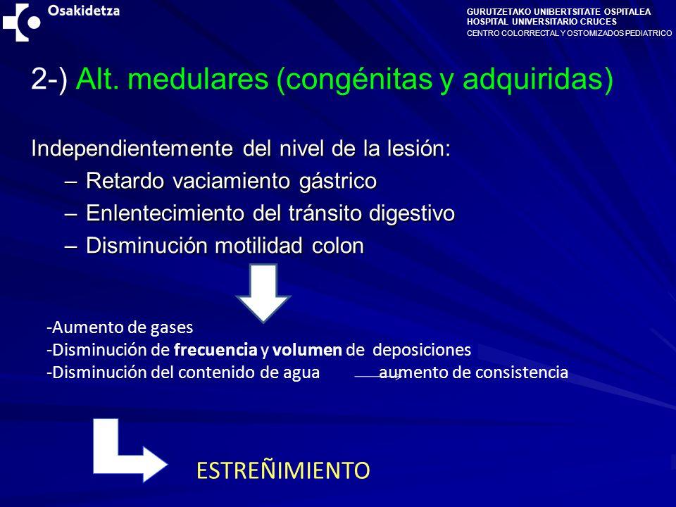2-) Alt. medulares (congénitas y adquiridas)
