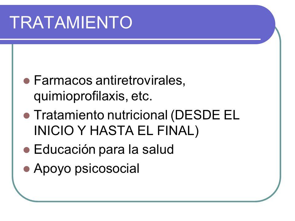 TRATAMIENTO Farmacos antiretrovirales, quimioprofilaxis, etc.