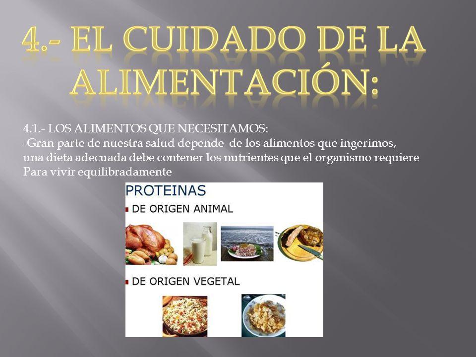 4.- el cuidado de la Alimentación: