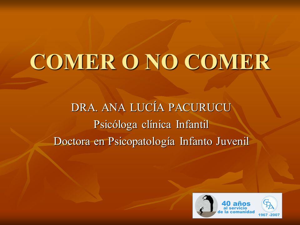 COMER O NO COMER DRA. ANA LUCÍA PACURUCU Psicóloga clínica Infantil