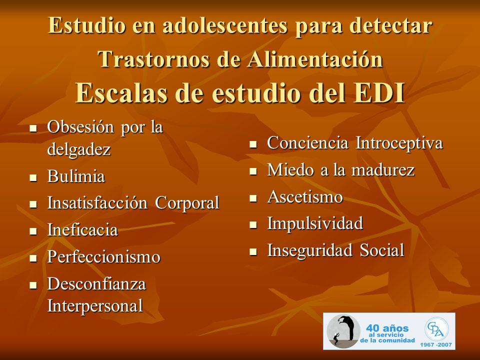 Estudio en adolescentes para detectar Trastornos de Alimentación Escalas de estudio del EDI
