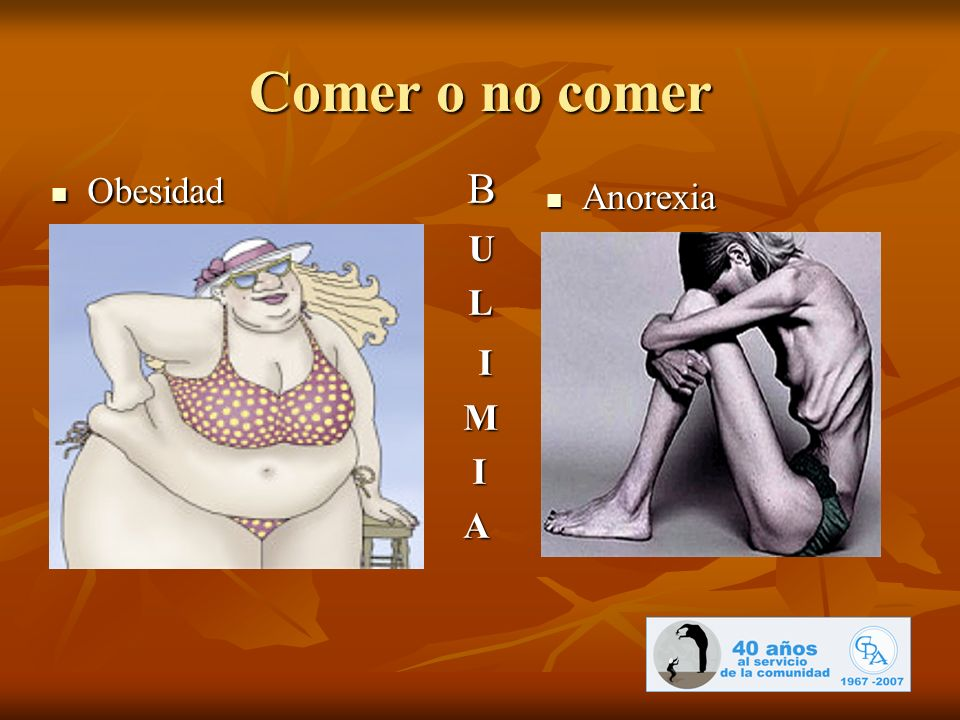 Comer o no comer Obesidad B U L I M A Anorexia