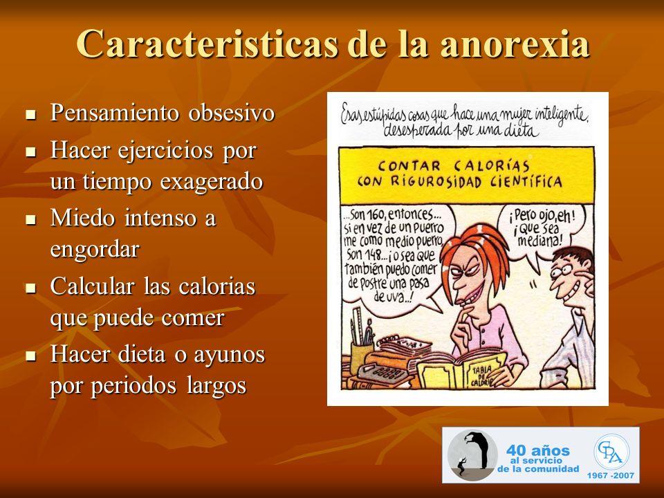 Caracteristicas de la anorexia