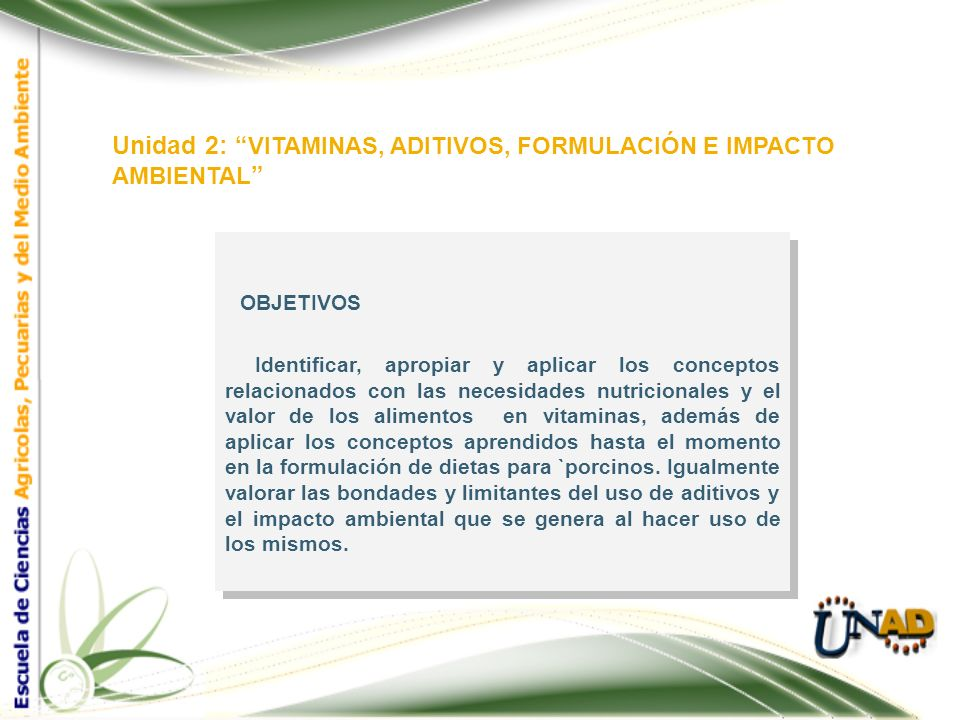 Unidad 2: VITAMINAS, ADITIVOS, FORMULACIÓN E IMPACTO AMBIENTAL