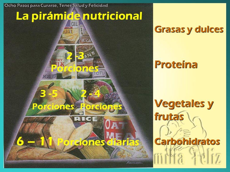 6 – 11 Porciones diarias La pirámide nutricional 2 -3 Porciones