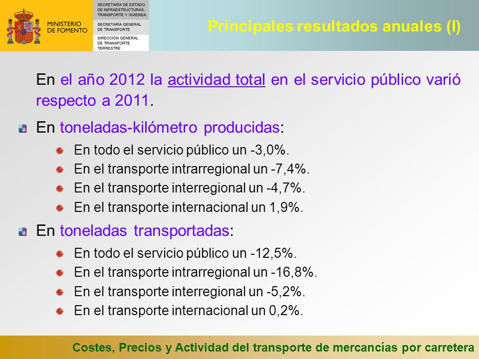 Principales resultados anuales (I)