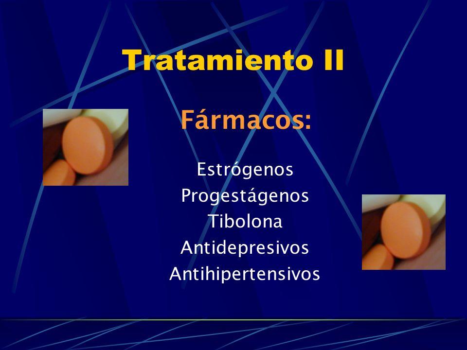 Tratamiento II Fármacos: Estrógenos Progestágenos Tibolona