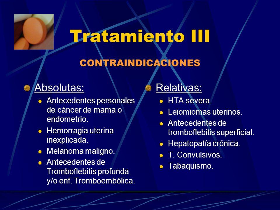Tratamiento III Absolutas: Relativas: CONTRAINDICACIONES