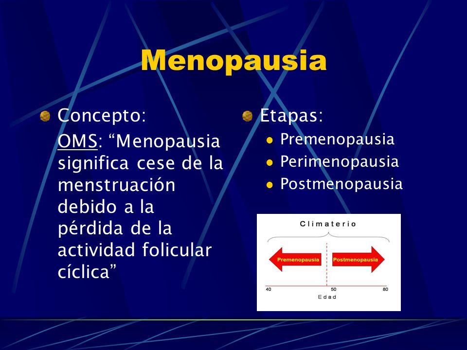 Menopausia Concepto: OMS: Menopausia significa cese de la menstruación debido a la pérdida de la actividad folicular cíclica