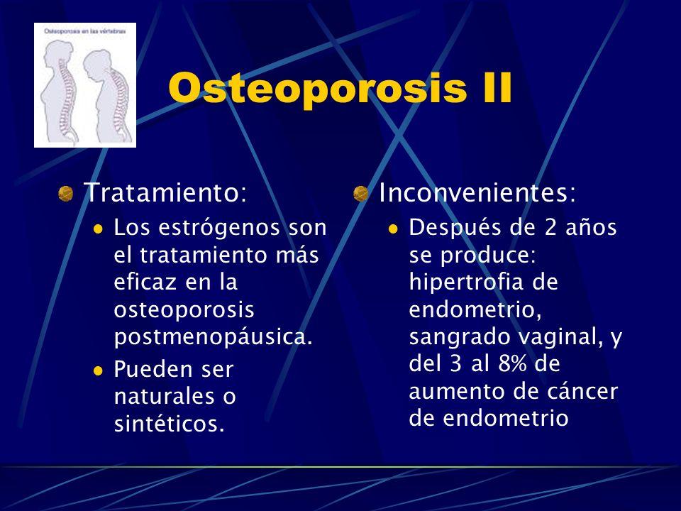 Osteoporosis II Tratamiento: Inconvenientes: