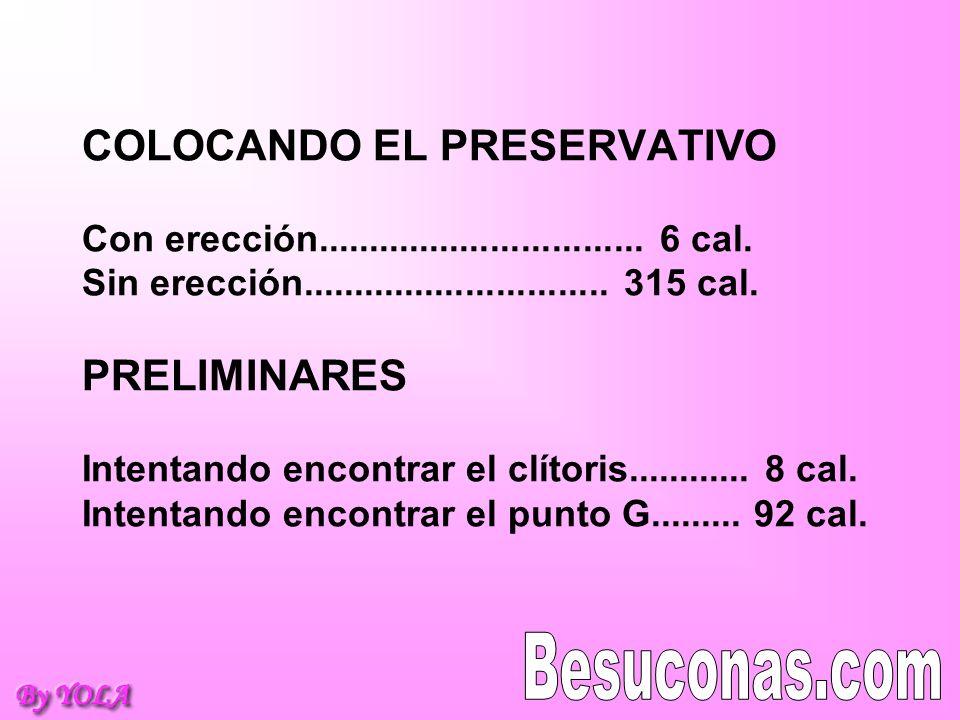 COLOCANDO EL PRESERVATIVO Con erección. 6 cal. Sin erección. 315 cal