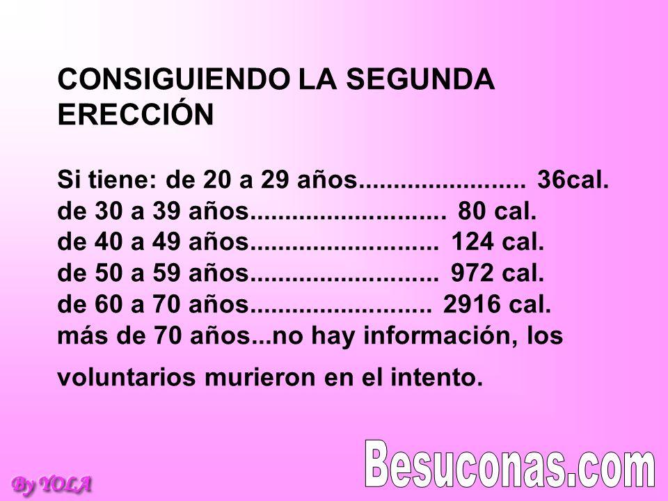 CONSIGUIENDO LA SEGUNDA ERECCIÓN Si tiene: de 20 a 29 años. 36cal