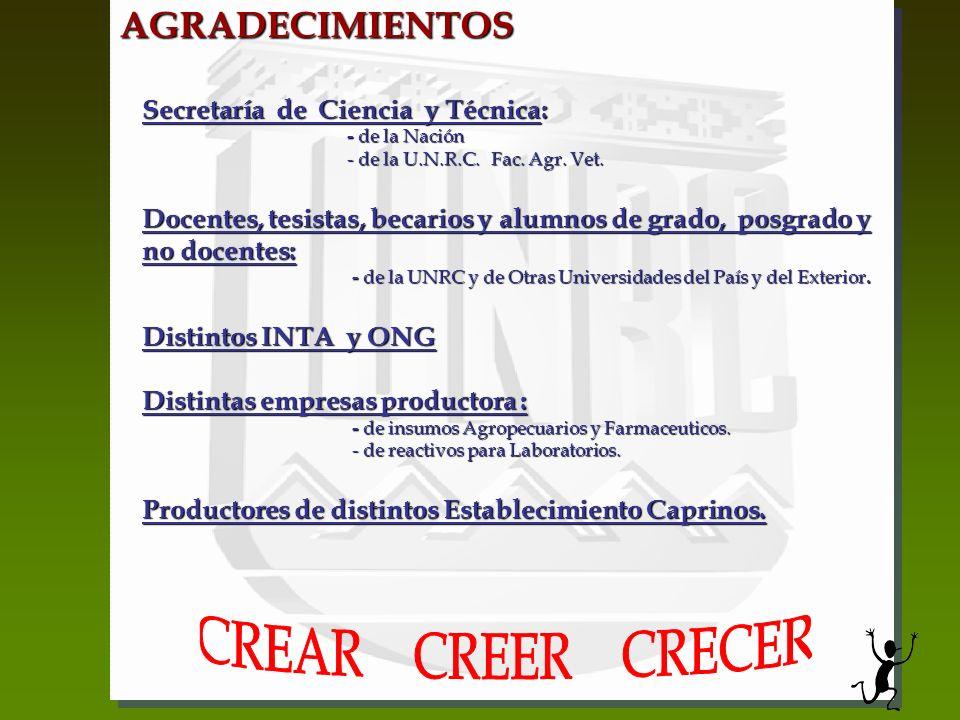 CREAR CREER CRECER AGRADECIMIENTOS Secretaría de Ciencia y Técnica: