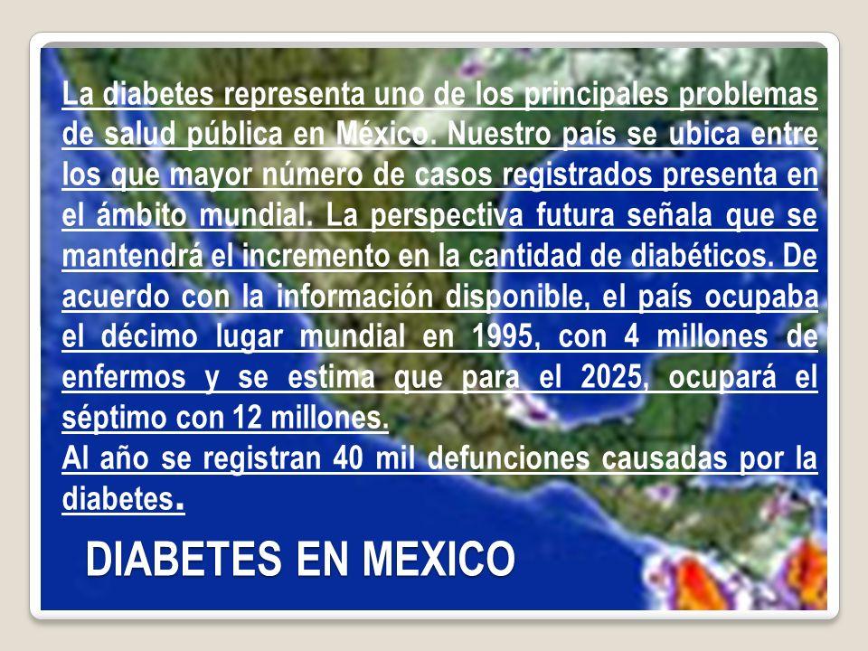 La diabetes representa uno de los principales problemas de salud pública en México. Nuestro país se ubica entre los que mayor número de casos registrados presenta en el ámbito mundial. La perspectiva futura señala que se mantendrá el incremento en la cantidad de diabéticos. De acuerdo con la información disponible, el país ocupaba el décimo lugar mundial en 1995, con 4 millones de enfermos y se estima que para el 2025, ocupará el séptimo con 12 millones.