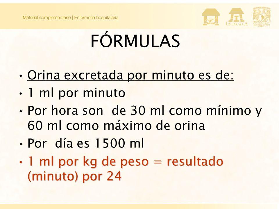 FÓRMULAS Orina excretada por minuto es de: 1 ml por minuto