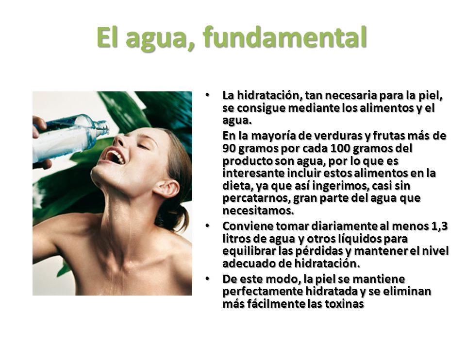 El agua, fundamental La hidratación, tan necesaria para la piel, se consigue mediante los alimentos y el agua.