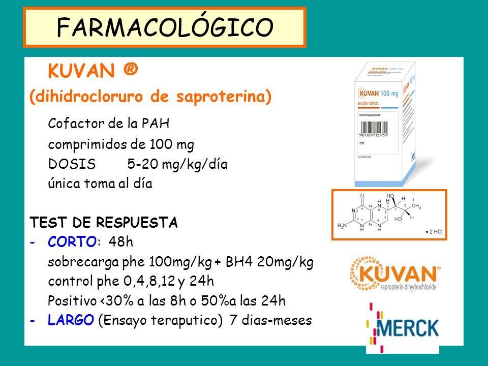 FARMACOLÓGICO KUVAN ® Cofactor de la PAH