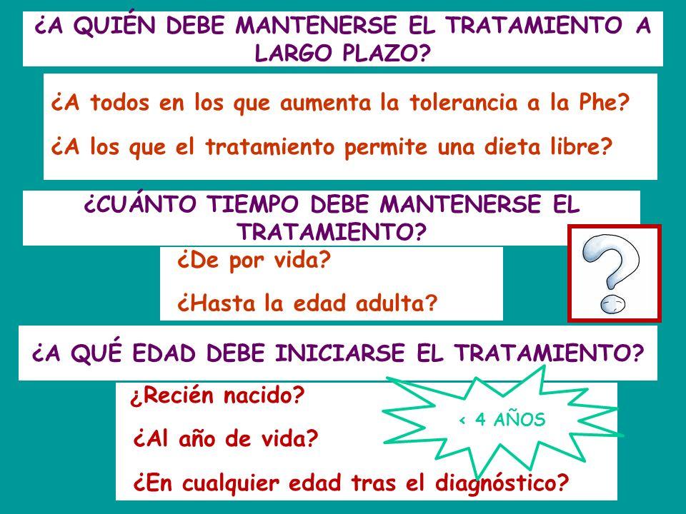 ¿A QUIÉN DEBE MANTENERSE EL TRATAMIENTO A LARGO PLAZO