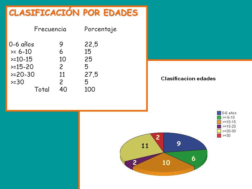 CLASIFICACIÓN POR EDADES