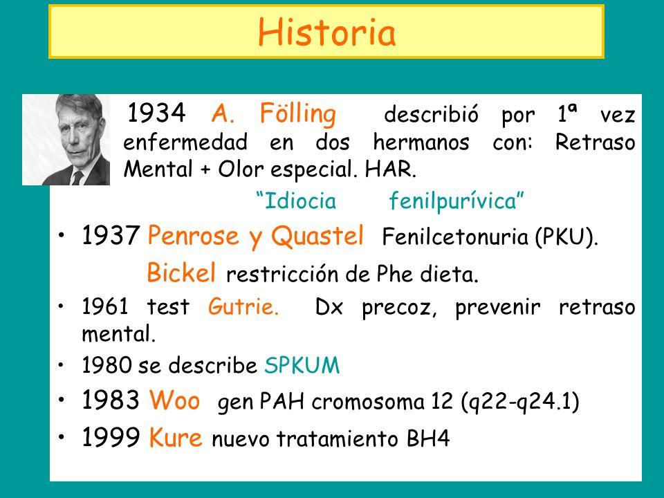 Historia 1934 A. Fölling describió por 1ª vez enfermedad en dos hermanos con: Retraso Mental + Olor especial. HAR.