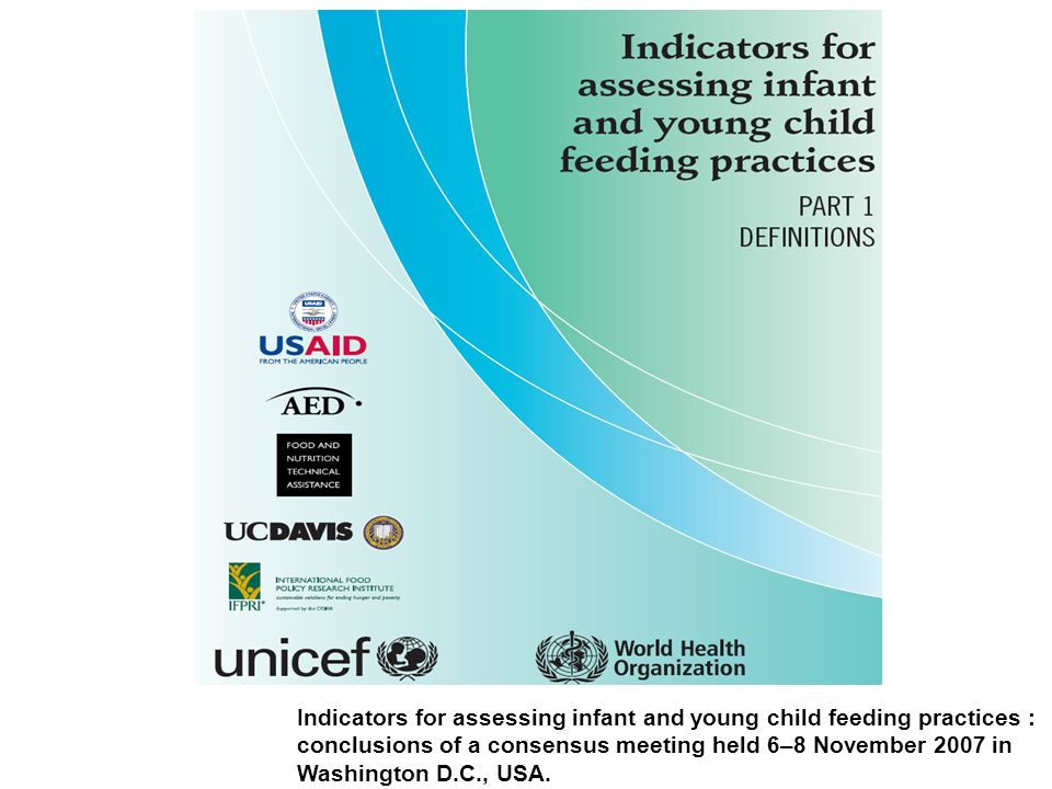 Indicators for assessing infant and young child feeding practices : conclusions of a consensus meeting held 6–8 November 2007 in Washington D.C., USA.
