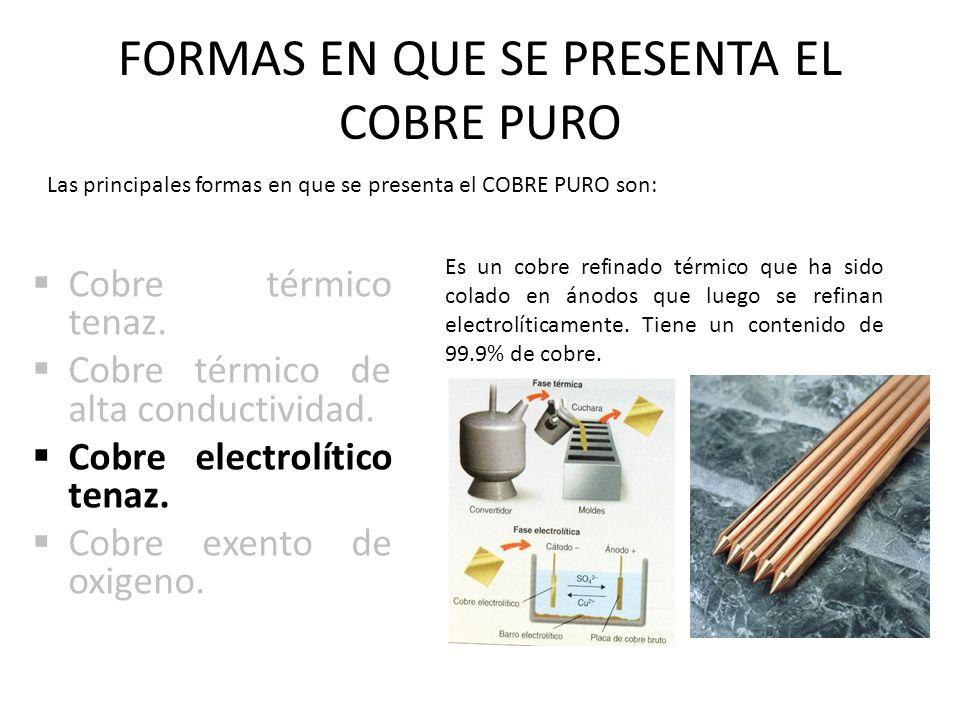 FORMAS EN QUE SE PRESENTA EL COBRE PURO