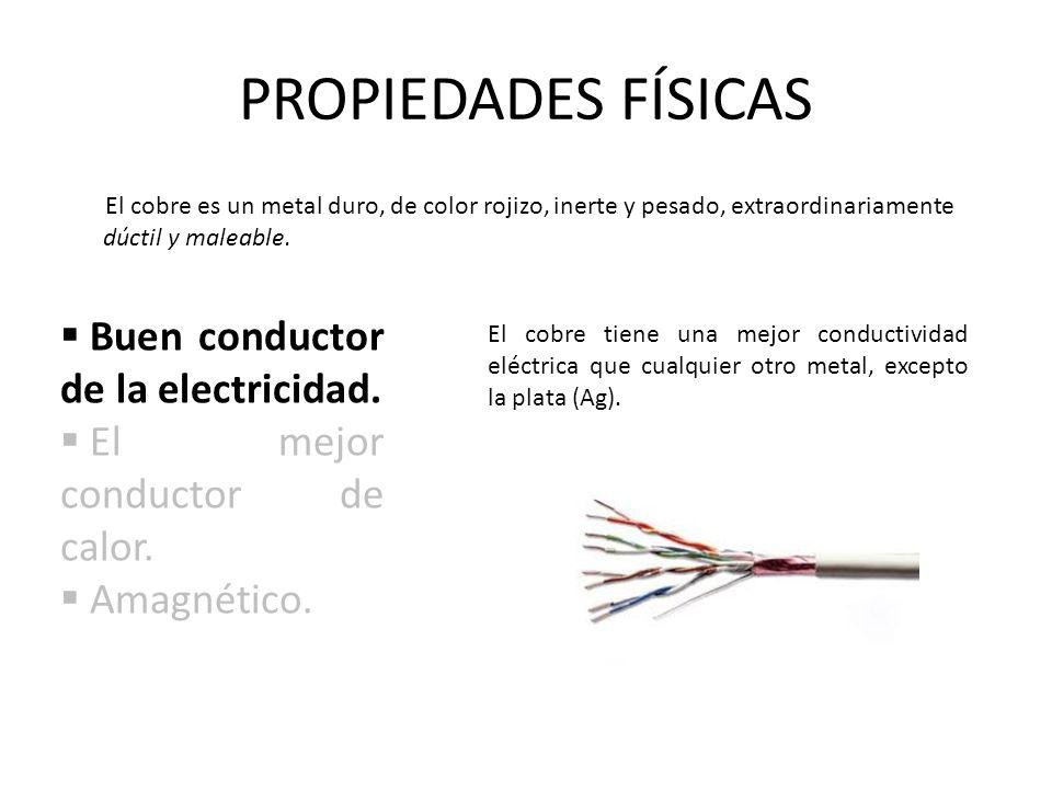 PROPIEDADES FÍSICAS Buen conductor de la electricidad.