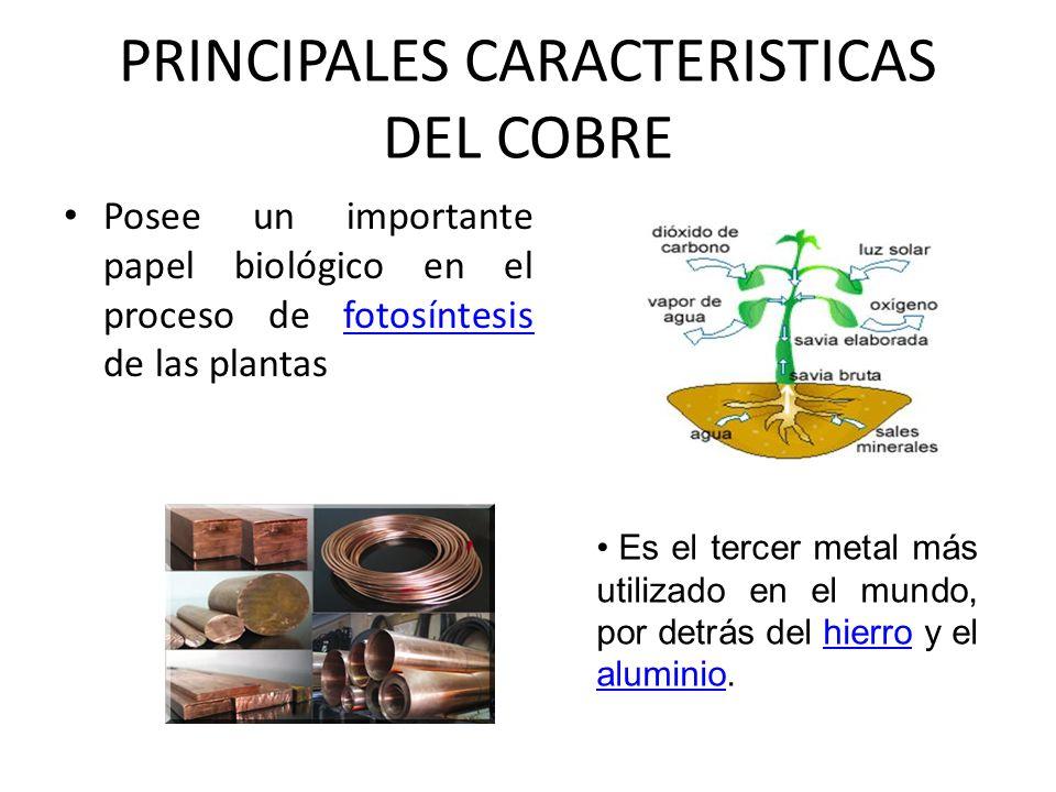 PRINCIPALES CARACTERISTICAS DEL COBRE