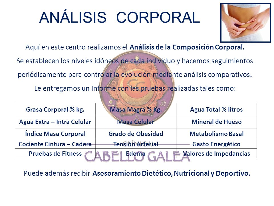 ANÁLISIS CORPORAL Aquí en este centro realizamos el Análisis de la Composición Corporal.
