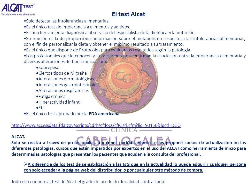 El test Alcat Sólo detecta las Intolerancias alimentarias.