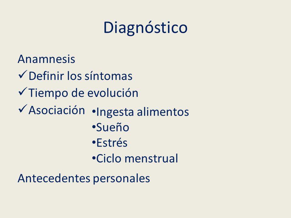Diagnóstico Anamnesis Definir los síntomas Tiempo de evolución