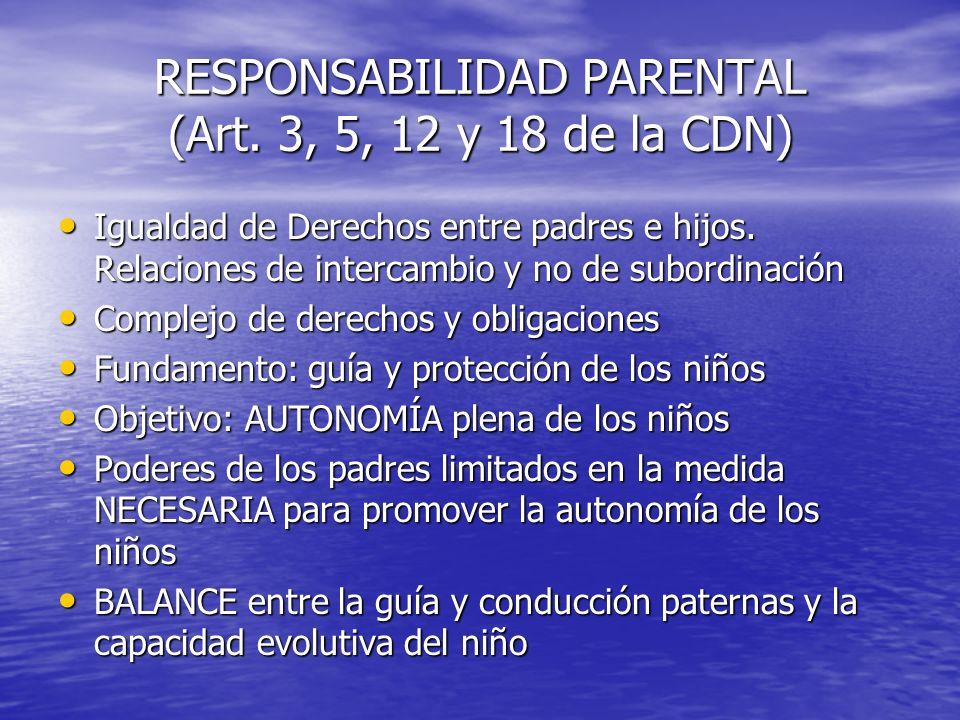 RESPONSABILIDAD PARENTAL (Art. 3, 5, 12 y 18 de la CDN)