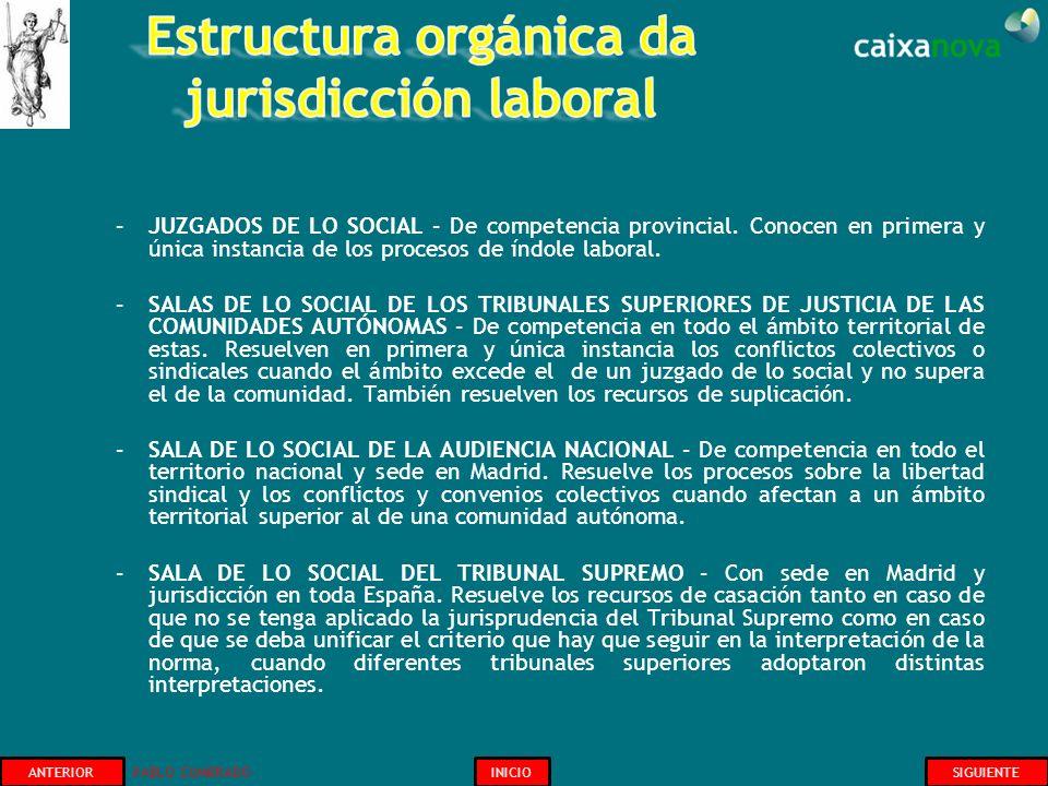 Estructura orgánica da jurisdicción laboral