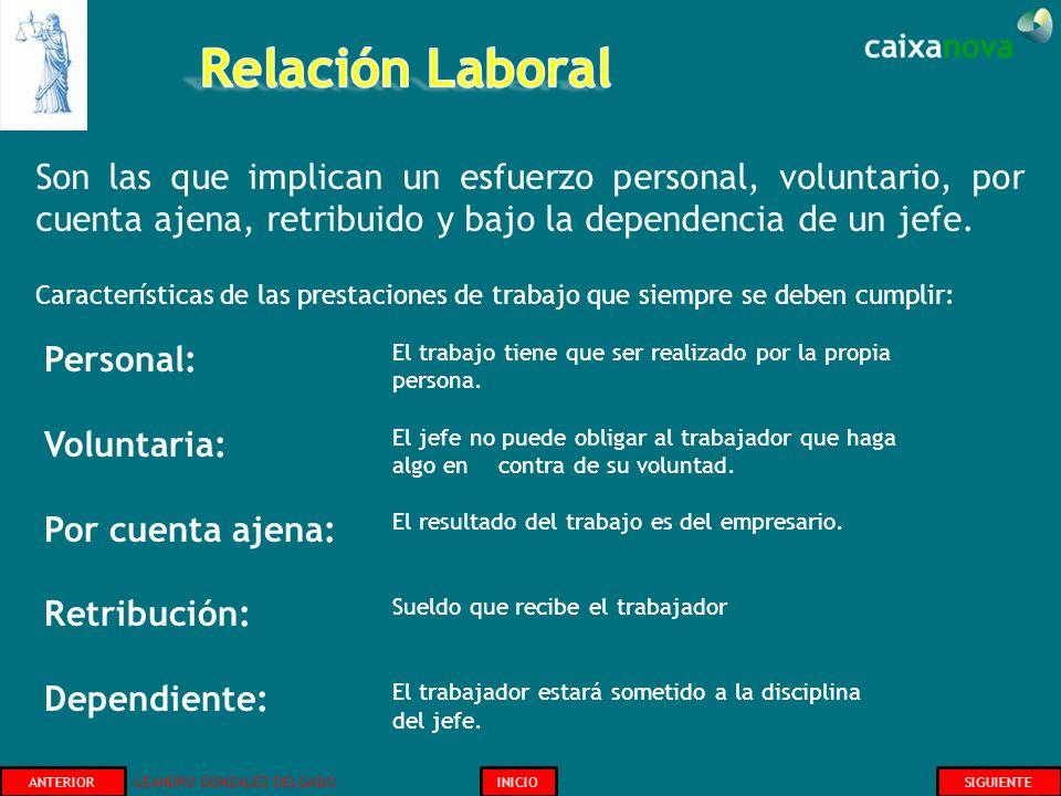 Relación Laboral Son las que implican un esfuerzo personal, voluntario, por cuenta ajena, retribuido y bajo la dependencia de un jefe.