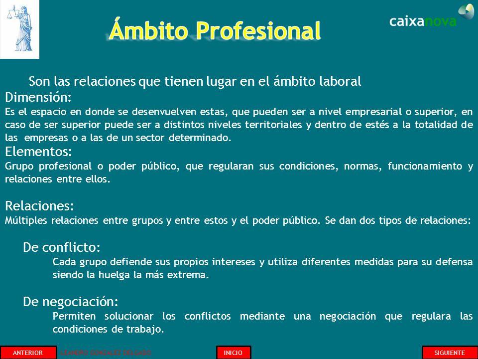 Ámbito Profesional Son las relaciones que tienen lugar en el ámbito laboral. Dimensión: